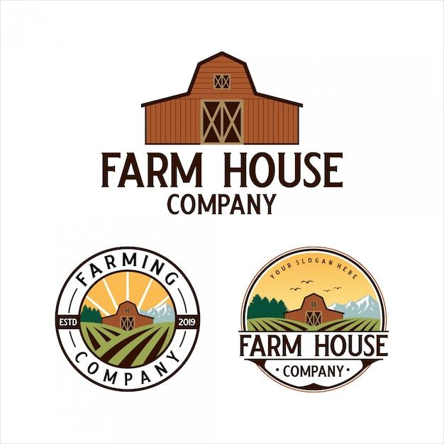 Bauernhaus klassisches logo-design Premium Vektoren