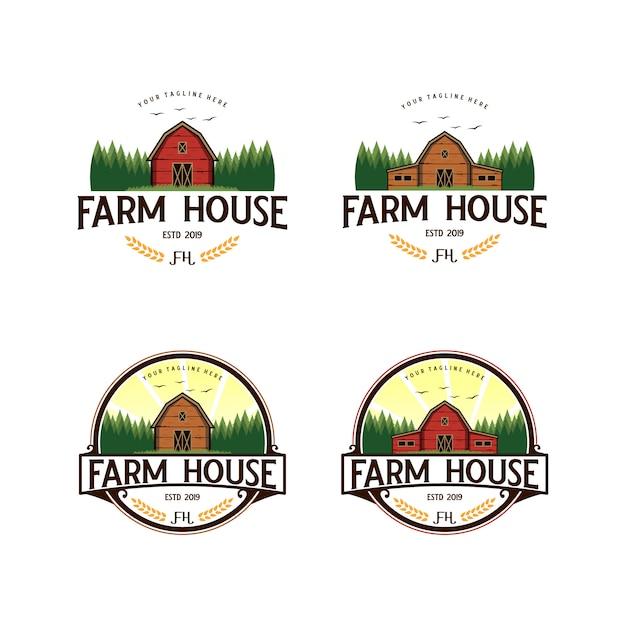 Bauernhaus, weinleselogodesign der landwirtschaft Premium Vektoren