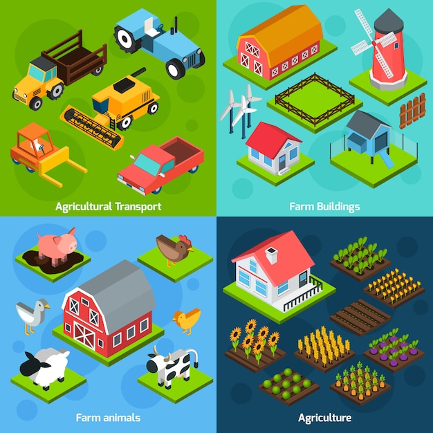 Bauernhof 4 isometrische quadratische symbole koposition Kostenlosen Vektoren