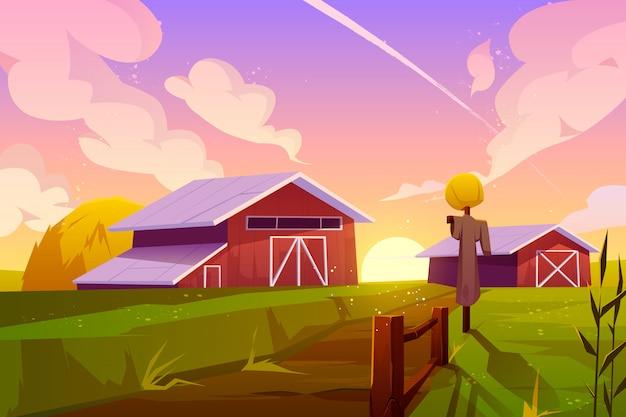 Bauernhof auf ländlichem hintergrund der sommernatur mit scheune Kostenlosen Vektoren