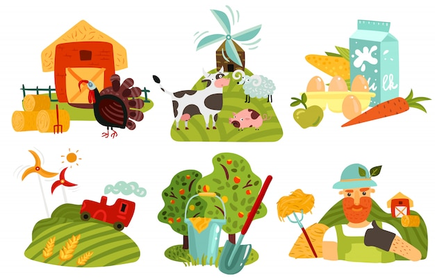 Bauernhof-design-konzept Kostenlosen Vektoren