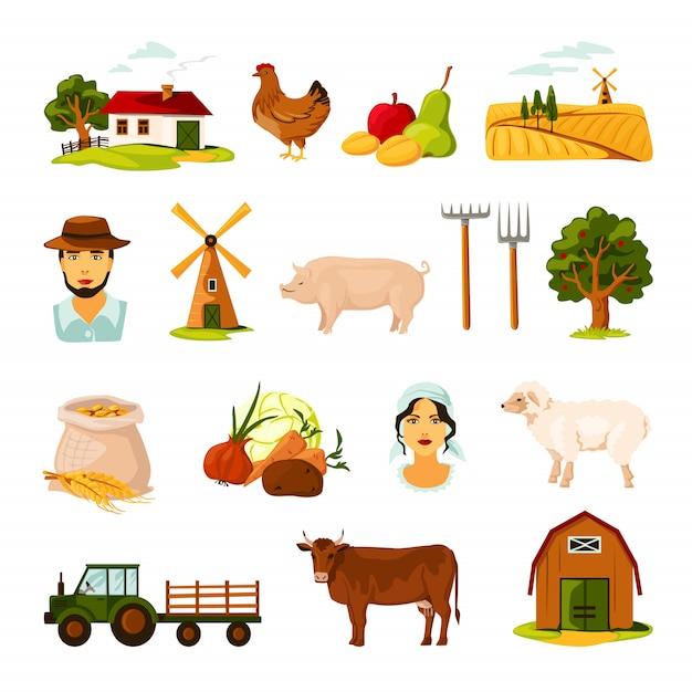 Bauernhof eingestellt Kostenlosen Vektoren