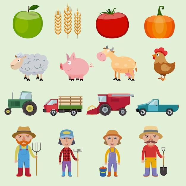 Bauernhof elemente, obst, gemüse, tiere, fahrzeuge und zeichen festgelegt Premium Vektoren