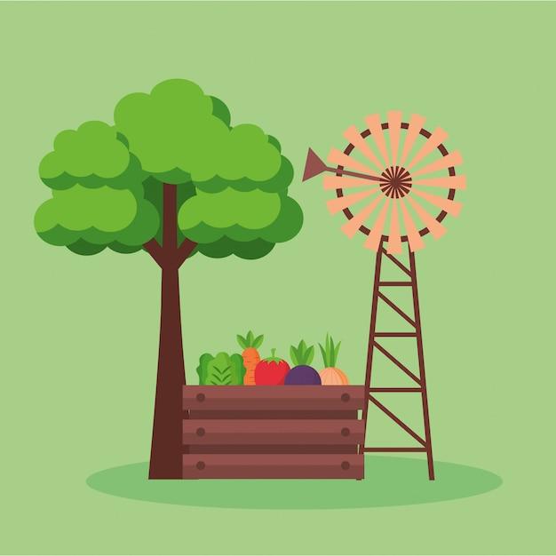 Bauernhof frische karikatur Kostenlosen Vektoren