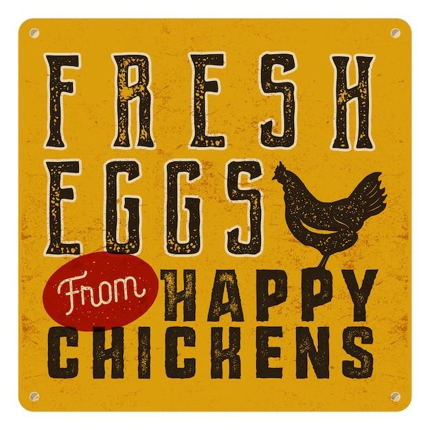 Bauernhof frisches plakat mit huhn. retro-typografie-stil Premium Vektoren