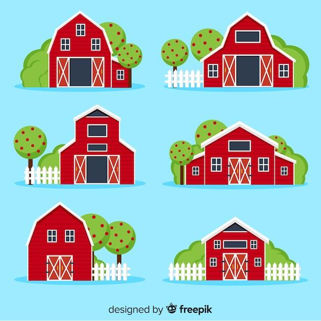 Bauernhof-gehäuse-sammlung Kostenlosen Vektoren