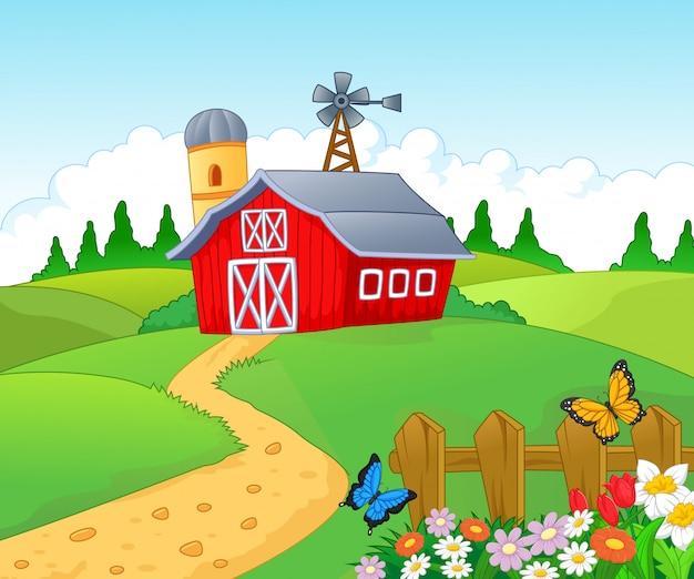 Bauernhof hintergrund Premium Vektoren