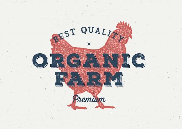 Bauernhof-hühnerweinlese-logokonzept Premium Vektoren