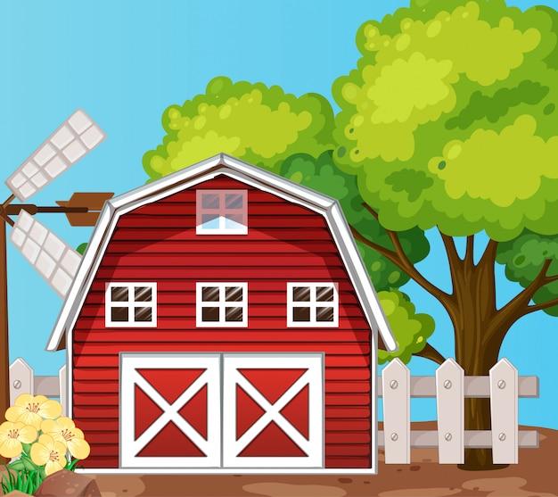 Bauernhof in der naturszene mit scheune und großem baum Kostenlosen Vektoren