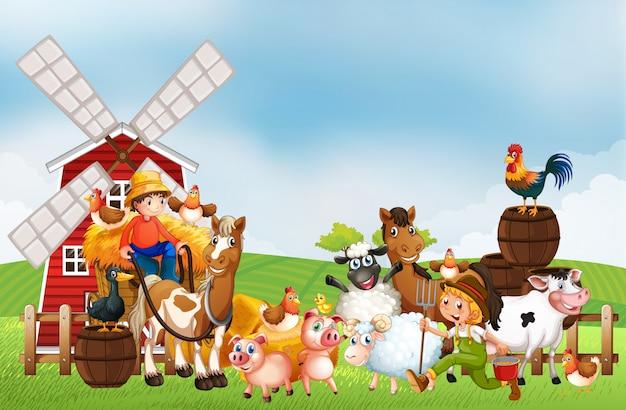 Bauernhof in der naturszene mit windmühle und tierfarm Kostenlosen Vektoren