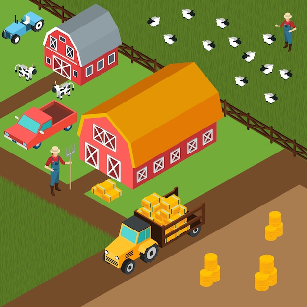 Bauernhof isometrische hintergrund Kostenlosen Vektoren