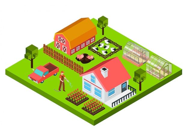Bauernhof isometrische konzept Kostenlosen Vektoren