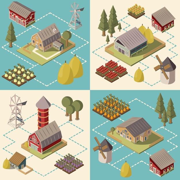 Bauernhof-isometrisches konzept Kostenlosen Vektoren