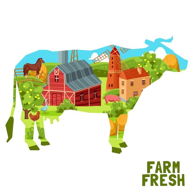 Bauernhof-kuh-konzept Kostenlosen Vektoren