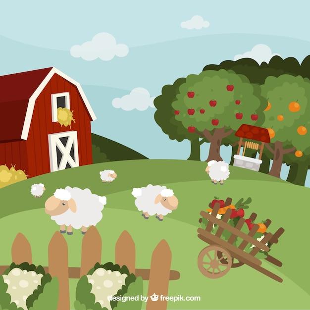 Bauernhof landschaft mit schafen Kostenlosen Vektoren