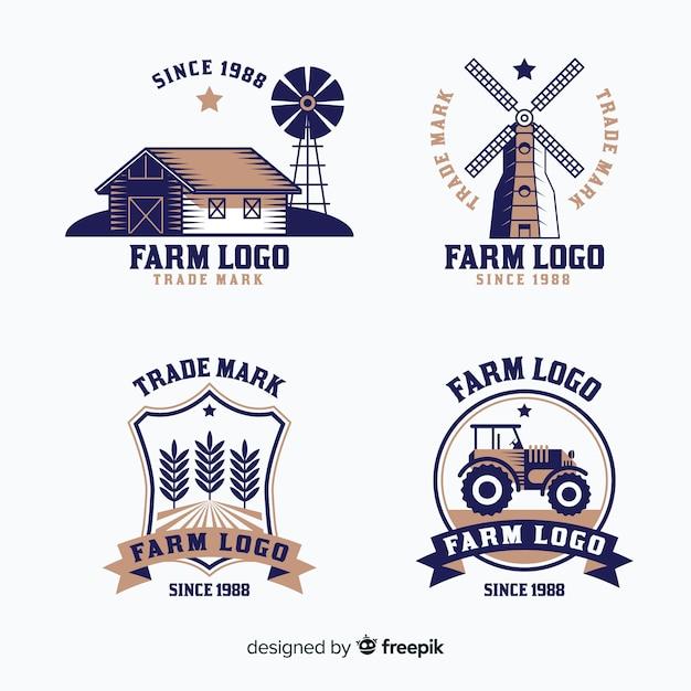Bauernhof-logo-sammlung im flachen stil Kostenlosen Vektoren
