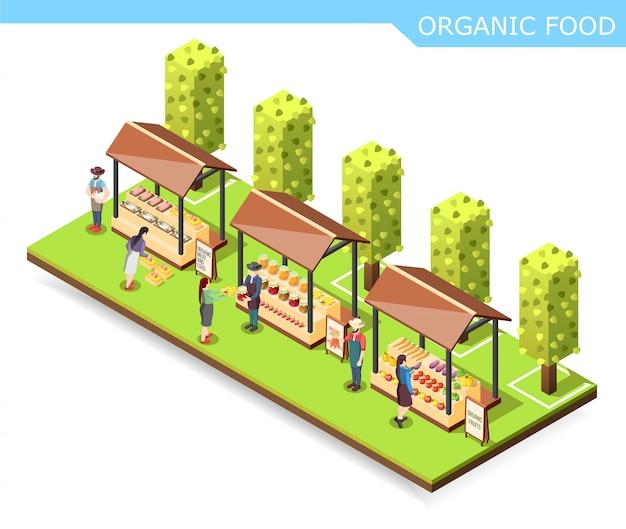 Bauernhof markt bio-lebensmittel-zusammensetzung Kostenlosen Vektoren