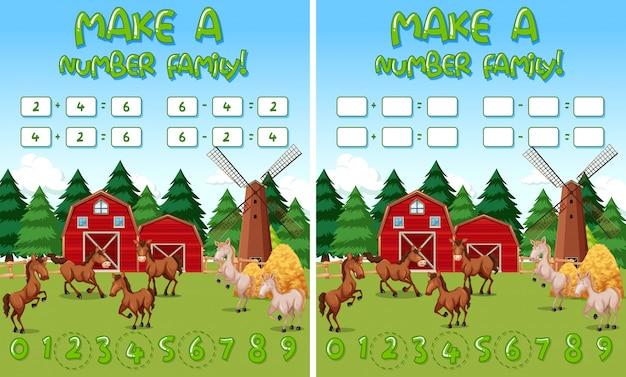Bauernhof mathe-spiel-vorlage mit pferden und bauernhof objekte Kostenlosen Vektoren