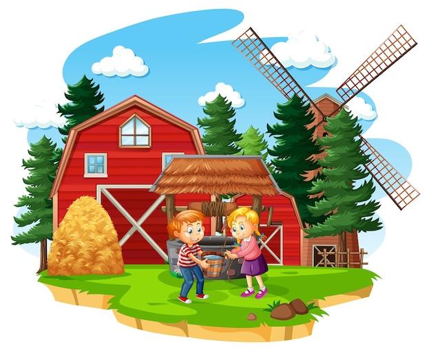 Bauernhof mit roter scheune und windmühle auf weißem hintergrund Kostenlosen Vektoren