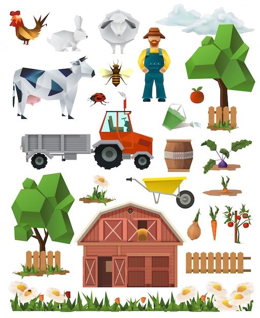 Bauernhof, niedriger polysatz der vektorsymbole Premium Vektoren