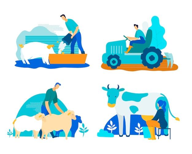 Bauernhof-set mit schweinen, kühen, schaf-cartoon-wohnung. Premium Vektoren