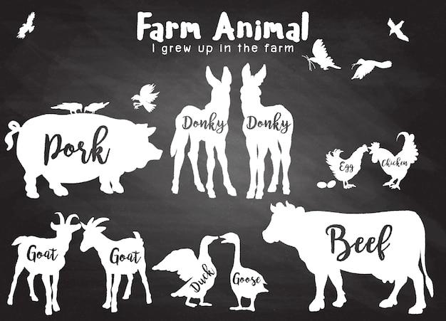 Bauernhof tiere silhouetten isoliert Premium Vektoren