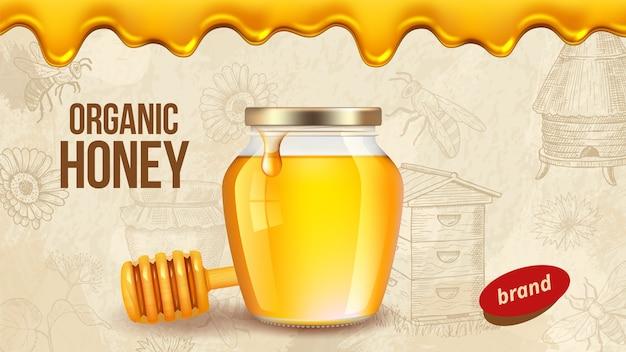 Bauernhofhonig. anzeigenplakatschablone mit realistischem honig, gesundem bio-lebensmittel-bauernhofverpackungshintergrund. bauernhofhonig, lebensmittel süße organische, imkerei natürliche illustration Premium Vektoren