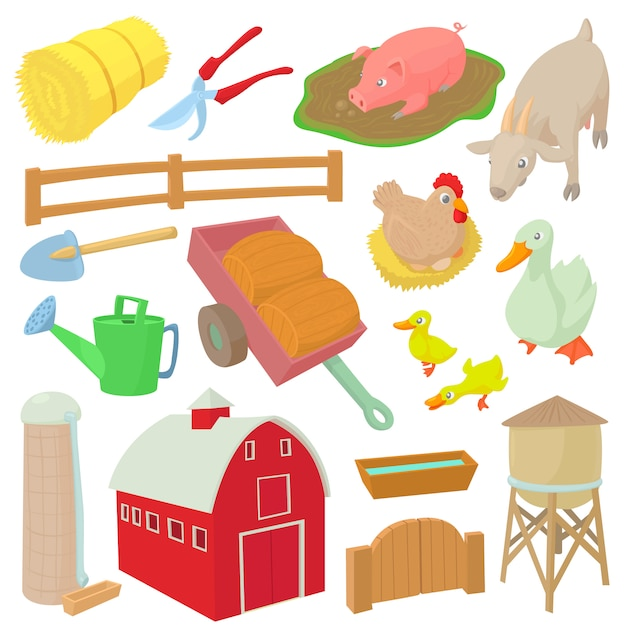 Bauernhofikonen stellten in lokalisierte vektorillustration der karikatur art ein Premium Vektoren