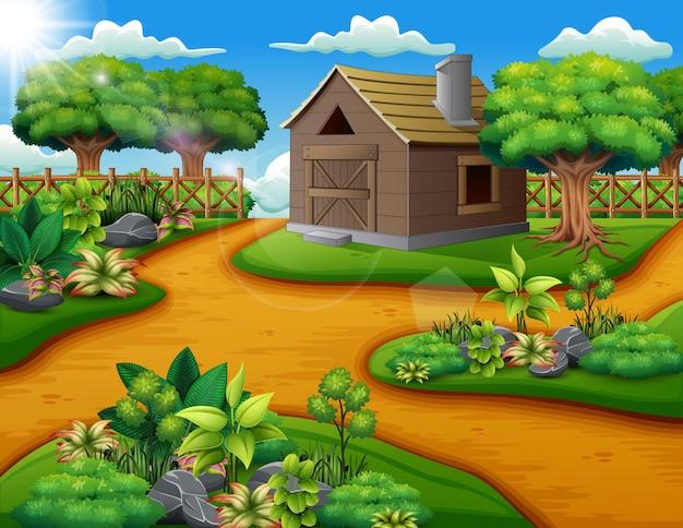 Bauernhoflandschaft mit halle und grünpflanzen Premium Vektoren