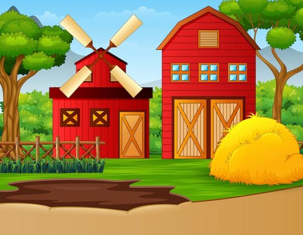 Bauernhoflandschaft mit halle und windmühle Premium Vektoren