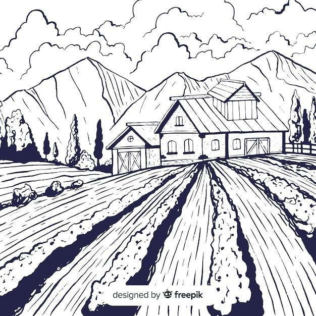 Bauernhoflandschaft Kostenlosen Vektoren