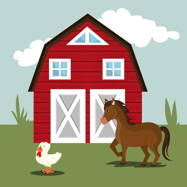 Bauernhofnatur und lebensstil Kostenlosen Vektoren