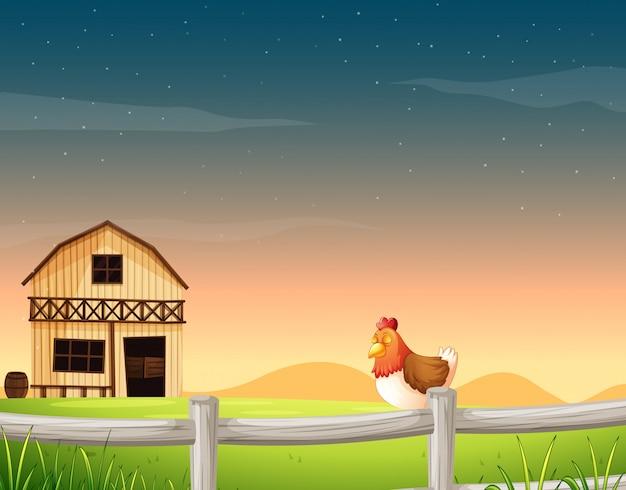Bauernhofszene in der natur mit scheune und huhn Premium Vektoren