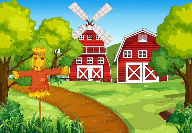 Bauernhofszene in der natur mit scheune und windmühle und vogelscheuche Premium Vektoren