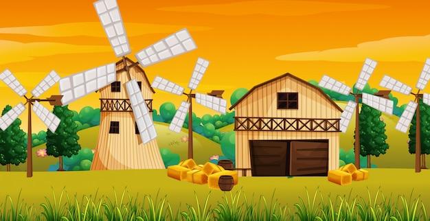 Bauernhofszene in der natur mit scheune und windmühle Premium Vektoren