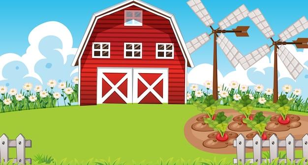 Bauernhofszene in der natur mit scheune und windmühle Kostenlosen Vektoren