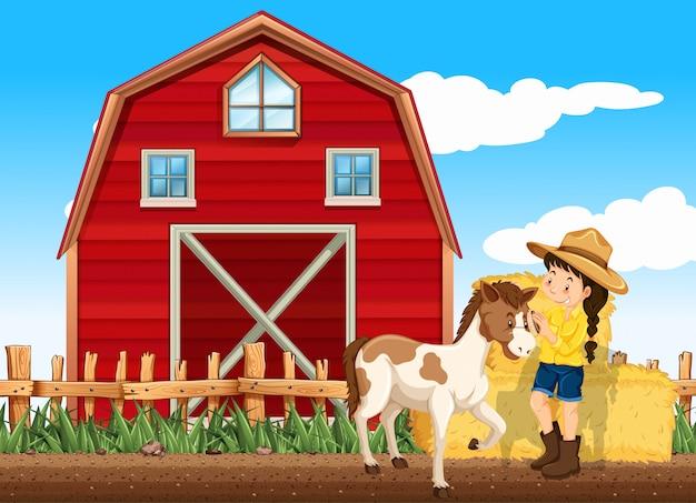 Bauernhofszene mit mädchen und pferd auf dem bauernhof Kostenlosen Vektoren