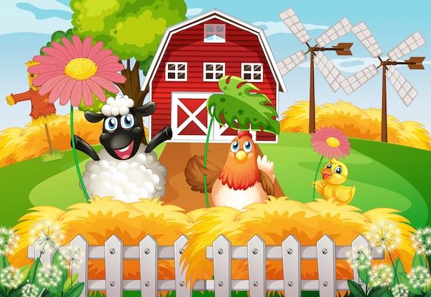 Bauernhofthemahintergrund mit nutztieren Kostenlosen Vektoren