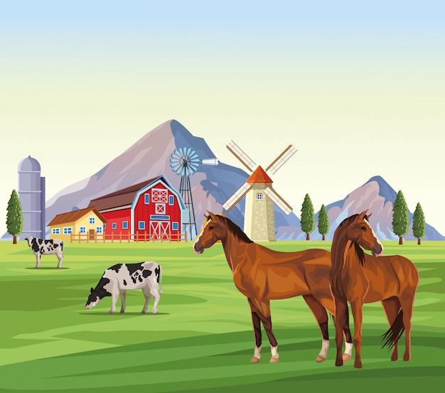 Bauernhoftiere cartoons Premium Vektoren