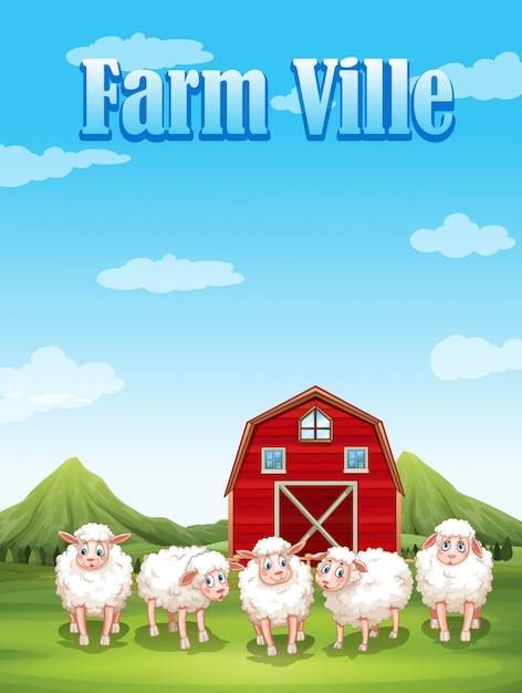 Bauernhofville mit schafen und scheune Kostenlosen Vektoren