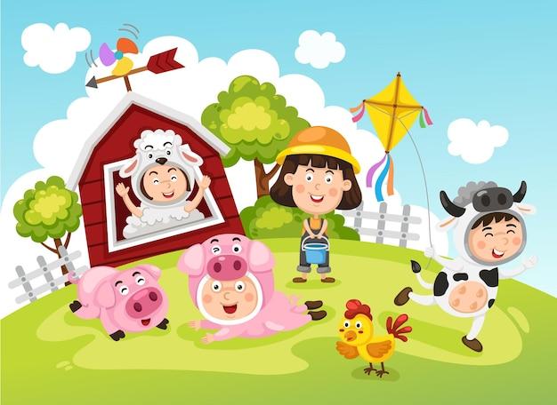 Bauernkinder Premium Vektoren