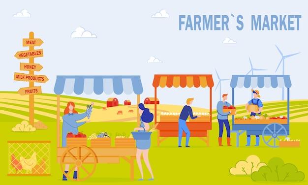 Bauernmarkt banner Premium Vektoren