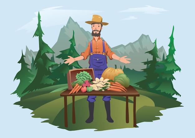 Bauernmarkt, dorffest. ein mann, der hinter einer theke mit frischem gemüse steht, das auf der farm angebaut wird. isoliert . Premium Vektoren