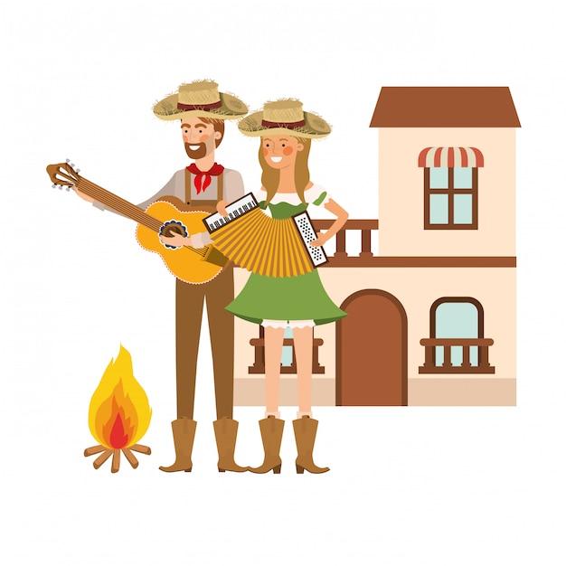 Bauernpaar mit musikinstrumenten Kostenlosen Vektoren