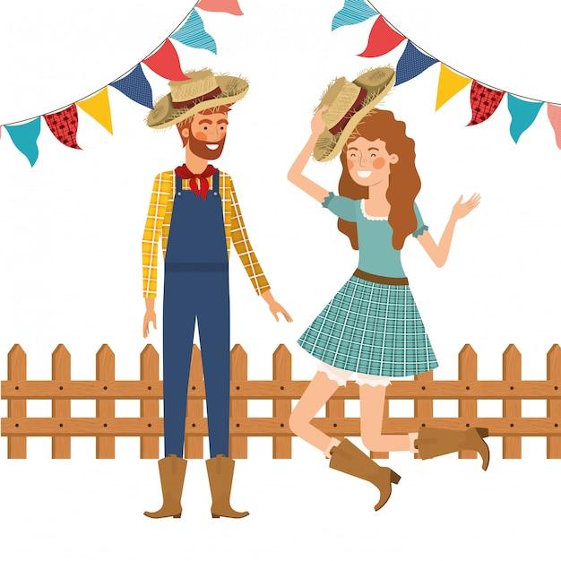 Bauernpaar tanzen mit strohhut Kostenlosen Vektoren
