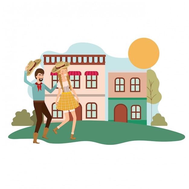 Bauernpaar tanzen Kostenlosen Vektoren
