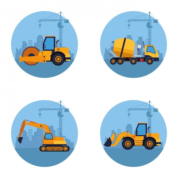 Baufahrzeuge cartoon Premium Vektoren