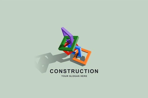 Baugebäude oder 3d-kastenrahmen quadratisches logo-design Premium Vektoren
