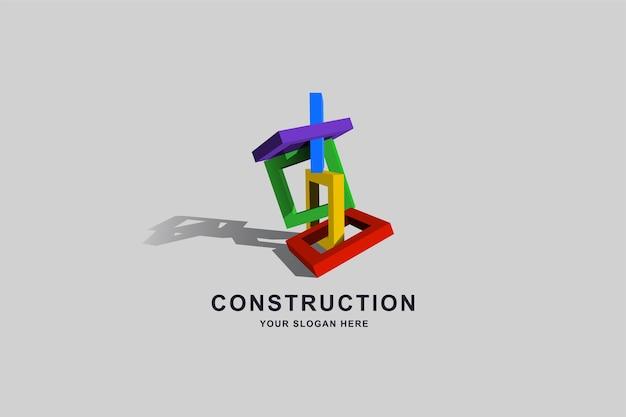 Baugebäude oder quadratische logo-entwurfsvorlage des kastenrahmens Premium Vektoren