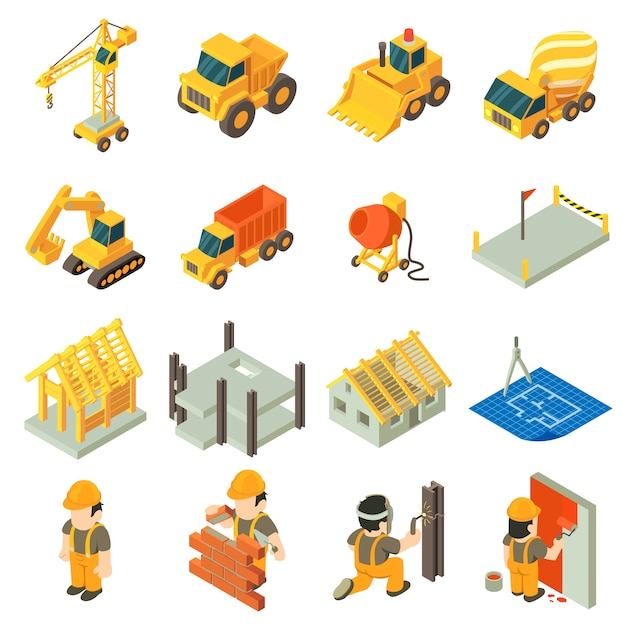 Baugebäudeikonen eingestellt. isometrische illustration von 16 baugebäude-vektorikonen für netz Premium Vektoren